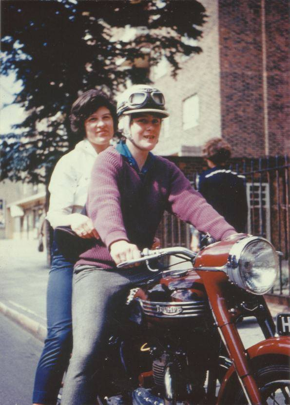 Mum on her twin-engine Triumph in Bermondsey in the 1960s.