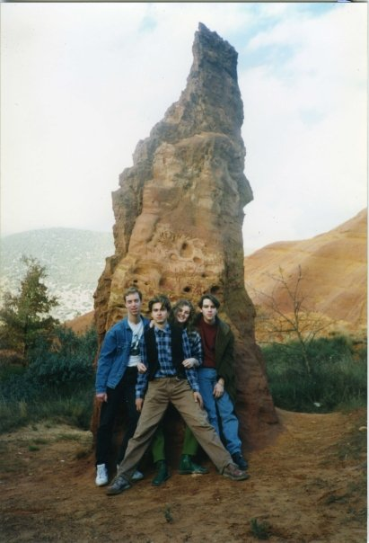 This was taken just outside Avignon with my friends Nigel, Michael and Harriet. That's me with the asymmetrical hair...